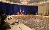 當地時間9月22日,在位於美國紐約的樂天紐約皇宮酒店,韓美日外長舉行會談。(圖源:韓聯社)