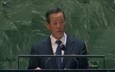 朝常駐聯合國代表在聯大會講話時籲美放棄敵朝政策。(圖源:韓聯社)