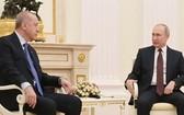 俄羅斯總統普京與土耳其總統埃爾多安當地時間9月29日在俄南部海濱城市索契舉行會談。(圖源:互聯網)
