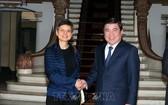 市人委會主席阮成鋒日前接見了比利時安特衛普省省長凱西‧貝爾女士。(圖源:TTXVN)