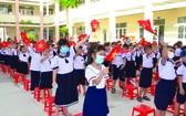 阮安寧小學的學生們參加開學典禮。
