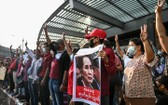 緬甸民眾示威反對關押昂山素姬。