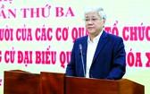 越南祖國陣線中央委員會主席杜文戰會上致詞。