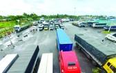 防疫規定不一導致大量貨車滯留。