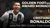 """Cristiano Ronaldo nhận giải thưởng """"Bàn chân vàng 2020""""."""