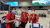 Các tuyển thủ Ánh Viên, Quách Thị Lan và Nguyễn Tiến Minh đang tuân thủ cách y tại Hà Nội. Ảnh: T.S