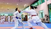 Các tuyển thủ karate Việt Nam tập luyện.