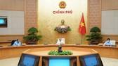 Thường trực Chính phủ họp về công tác phòng chống dịch Covid-19. Ảnh VIẾT CHUNG