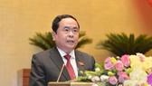 Chủ tịch Ủy ban Trung ương MTTQ Việt Nam Trần Thanh Mẫn trình bày báo cáo trước Quốc hội, sáng 20-5-2020. Ảnh: QUOCHOI