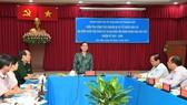 Đồng chí Nguyễn Thị Lệ phát biểu tại buổi kiểm tra công tác chuẩn bị bầu cử của huyện Hóc Môn. Ảnh: VIỆT DŨNG