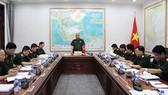 Thượng tướng Nguyễn Chí Vịnh chủ trì Hội nghị Ban Chỉ đạo về biên soạn Sách trắng Quốc phòng Việt Nam năm 2018. Ảnh: BQP