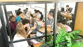 Startup businesspersons are working in Saigon Innovation Hub (Photo: SGGP)