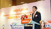 Vietnam's Consul General in Hong Kong Tran Thanh Huan, speaks at the launch (Photo: Courtesy of Vietjet Air)