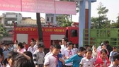 Pupils of Truong Quyen Primary School in District 3 are practising evacuating in the case of fire (Photo: SGGP)