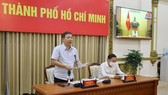 Deputy Chairman of HCMC People's Committee Duong Anh Duc speaks in the online meeting (Photo: SGGP)