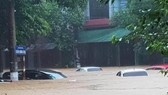 Cars are sunk into floodwater