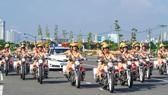 City's traffic policewomen team parades on street