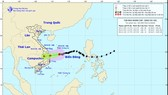 The National Center for Hydro-meteorology Forecasting releases a path map of  typhoon Goni in early Thursday morning