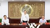 Đồng chí Trần Thanh Mẫn phát biểu chỉ đạo tại buổi làm việc. Ảnh: TTXVN
