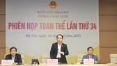 Chủ nhiệm Ủy ban Pháp luật của Quốc hội Hoàng Thanh Tùng phát biểu kết luận nội dung thẩm tra Báo cáo tổng kết công tác của Chính phủ nhiệm kỳ 2016-2021. Ảnh: QUOCHOI