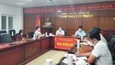 Quang cảnh buổi họp báo tối 21-9 tại điểm cầu Ban Tuyên giáo Tỉnh ủy Bà Rịa - Vũng Tàu