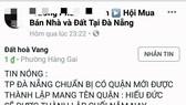 Cò đất tung tin đồn tách huyện Hòa Vang để thổi giá đất
