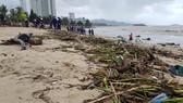 """Biển Nha Trang """"ngập"""" rác sau mưa lũ"""