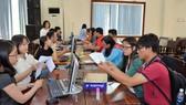 Thí sinh nộp giấy xác nhận nhập học tại Trường Đại học Sài Gòn