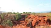 Lũ cát đã làm khu đất thuộc Dốc Mả (xã Hòa Thắng, huyện Bắc Bình, tỉnh Bình Thuận) bị xé toạc.