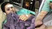 Trúc với những vết thương trên cơ thể tại bệnh viện
