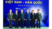 Chủ tịch nước Trần Đại Quang và Tổng thống Đại Hàn  Dân Quốc  Moon Jae-in cùng các  đại biểu  tại Diễn đàn Doanh nghiệp Việt Nam -  Hàn Quốc  Ảnh: TTXVN