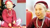 Chị em nghệ nhân Nguyễn Thị Vượn - Nguyễn Thị Khướu (từ trái qua)