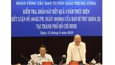 Phó Trưởng Ban Thường trực Ban Tuyên giáo Trung ương Võ Văn Phuông phát biểu tại buổi làm việc