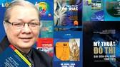 Nhà giáo nhân dân - họa sĩ Uyên Huy bên những đầu sách do ông biên soạn và xuất bản