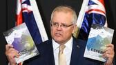 Thủ tướng Australi Scott Morrison phát biểu trong buổi công bố Cập nhật Chiên lược Quốc phòng Australia 2020. Nguồn: FT