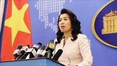 Người phát ngôn Bộ Ngoại giao Lê Thị Thu Hằng trả lời câu hỏi của phóng viên các cơ quan thông tấn, báo chí trong nước và quốc tế. Ảnh: TTXVN