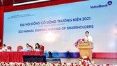 Ông Lê Đức Thọ, Chủ tịch HĐQT Vietinbank phát biểu tại Đại hội đồng cổ đông thường niên năm 2021