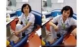 Hình ảnh bác sĩ Minh ngồi khám bệnh và nói chuyện với người nhà bệnh nhân (cắt từ clip)