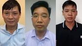 3 bị can (từ trái qua): Nguyễn Anh Minh, Bùi Mạnh Hiển, Nguyễn Đức Hưng