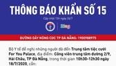 Bộ Y tế thông báo khẩn cho những người liên quan bệnh nhân mắc Covid-19 ở Đà Nẵng