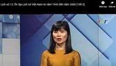 Cô Đoàn Thị Thanh Hương đang dạy học qua truyền hình môn Lịch sử lớp 12 
