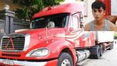 Tài xế Lưu Văn Châu và chiếc xe container vi phạm tại Cơ quan Công an