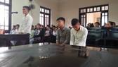 Các bị cáo Nhật, Quỳnh, Côn tại phiên tòa