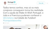 Ronaldo biến giấc mơ trẻ em khuyết tật thành hiện thực. Ảnh từ Twitter.