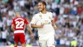 Eden Hazard mừng bàn thắng đầu tiên cho Real Madrid. Ảnh: Getty Images