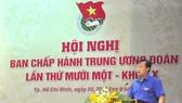 Đồng chí Lê Quốc Phong - Ủy viên dự khuyết BCH Trung ương Đảng, Bí thư thứ nhất BCH Trung ương Đoàn phát biểu khai  mạc hội nghị