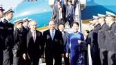 Thủ tướng Nguyễn Xuân Phúc và phu nhân tại sân bay quốc tế frankfurt, Cộng hòa Liên bang Đức