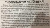 Thông báo tìm người bị hại của Cơ quan CSĐT Công an tỉnh Bình Định trong vụ án nguyên Phó Chủ tịch UBND xã Mỹ Châu chiếm đoạt tài sản sản