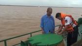 Cơ quan chức năng kiểm tra tàu của Công ty Mỹ Hưng do ông Trịnh Sướng làm chủ chở xăng dầu trái phép. Nguồn: VTC