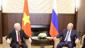 Tổng Bí thư Nguyễn Phú Trọng hội đàm với Tổng thống Vladimir Putin trong chuyến thăm chính thức Liên bang Nga, tháng 9-2018. Ảnh: TTXVN